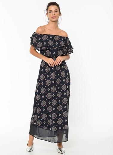 Only Kayık Yaka Desenli Uzun Elbise Lacivert